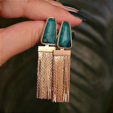 Brinco franja ouro pedra natural esmeralda azul semijoia
