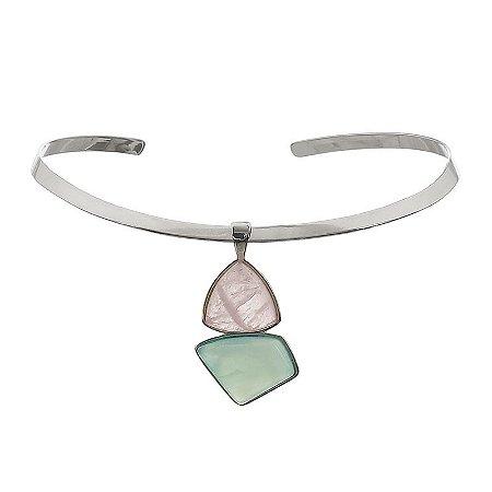 Colar aro pedra natural quartzo rosa e ágata azul céu ródio semijoia
