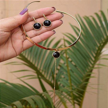 Colar e brinco pedra natural ágata preta facetada semijoia