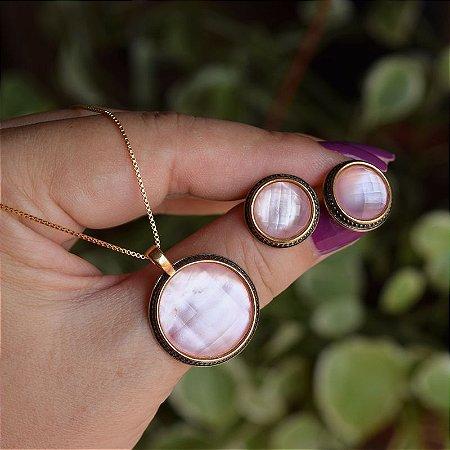 Colar e brinco redondo pedra natural madrepérola rosa semijoia