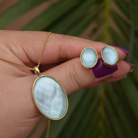 Colar e brinco oval pedra natural madrepérola azul semijoia