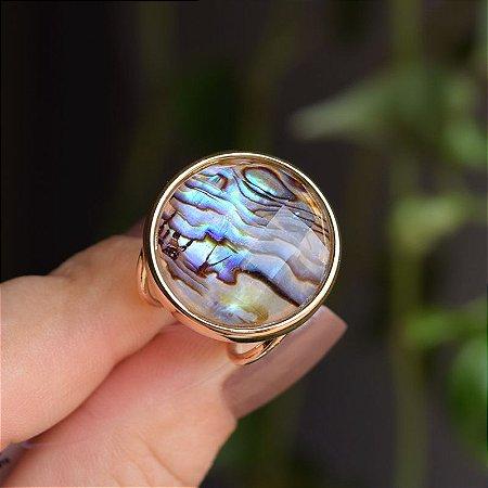 Anel ajustável pedra natural abalone semijoia
