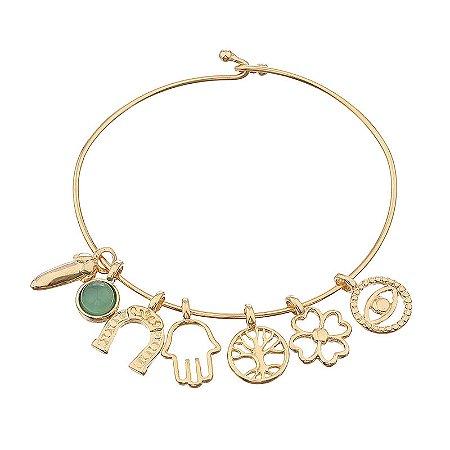 Bracelete amuleto pedra natural ágata verde semijoia