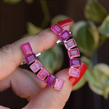 Ear cuff retângulos fusion rosa semijoia