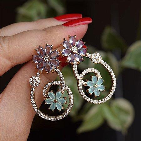Brinco flor cristal lilás verde semijioia