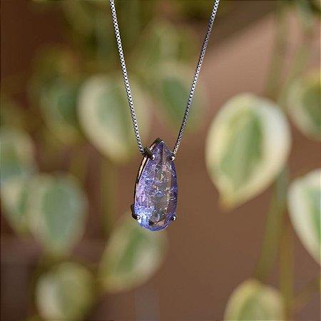 Colar gota cristal roxo ródio negro semijoia