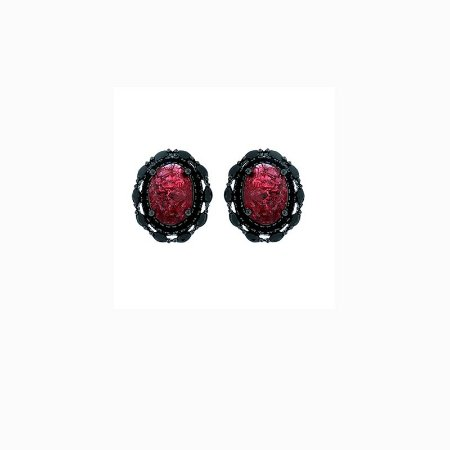 Brinco Oval Pedra Fusion Rubi semijoia 596010163