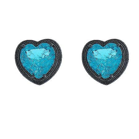 Brinco coração cristal fusion turmalina ródio negro semijoia 596010234