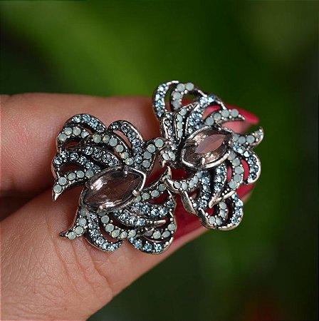 Brinco Claudia Arbex prata cristal aqua marine semijoia