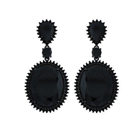Brinco oval cristal black metalizado semijoia