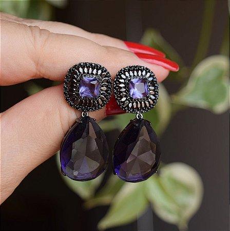 Brinco gota cristal roxo ródio negro semijoia