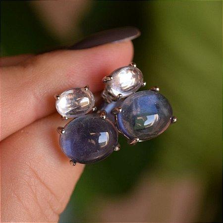 Brinco duo prata cristal azul ródio semijoia