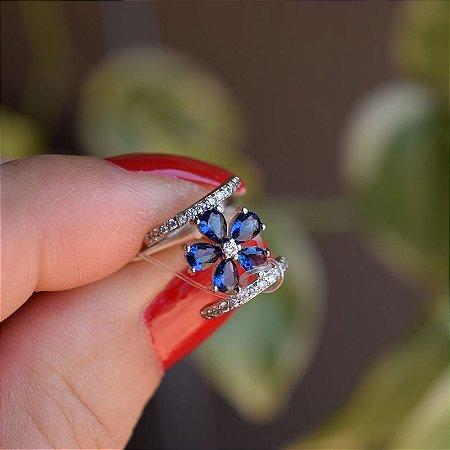Piercing de encaixe flor prata cristal azul ródio semijoia