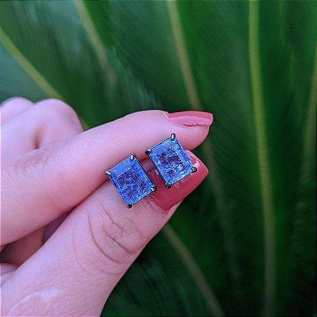 Brinco cristal retangular lilás ródio negro semijoia
