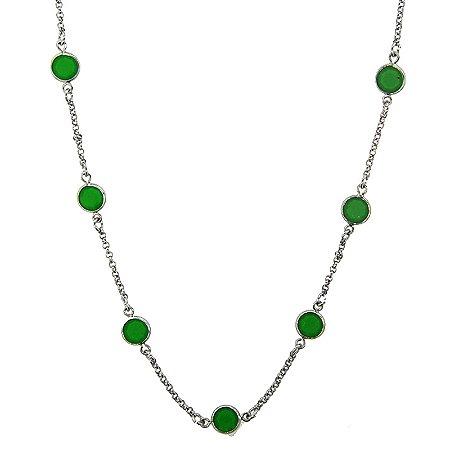 Colar longo ródio cristal redondo esmeralda semijoia