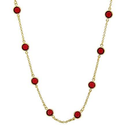 Colar longo ouro cristal redondo rubi semijoia