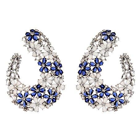 Brinco flores zircônia cristal azul ródio semijoia