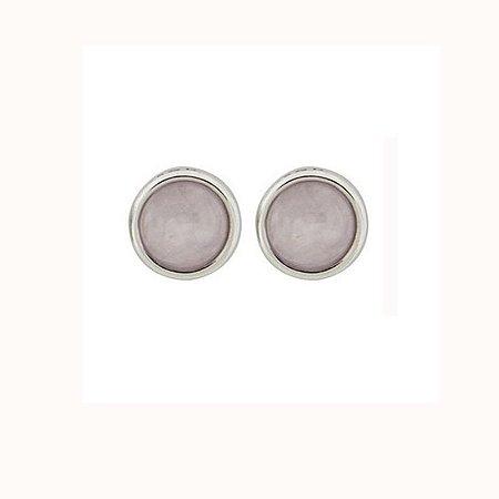 Brinco redondo pedra natural quartzo rosa ródio semijoia