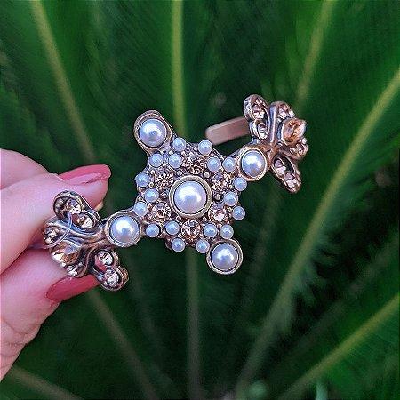 Bracelete Cláudia Marisguia pérola cristal dourado