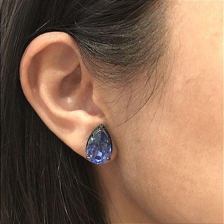 Brinco Lázara Design gota cristal azul