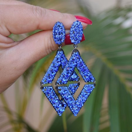 Brinco Leticia Sarabia geométrico cristal azul royal