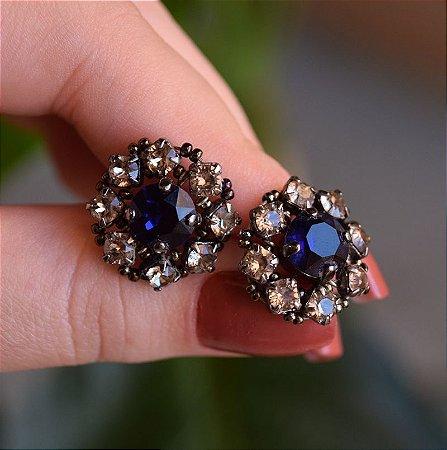 Brinco Caleidoscópio cristal swarovski azul e fumê