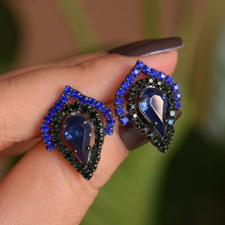 Brinco gota Claudia Marisguia azul e preto