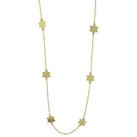 Colar longo estrela ouro semijoia