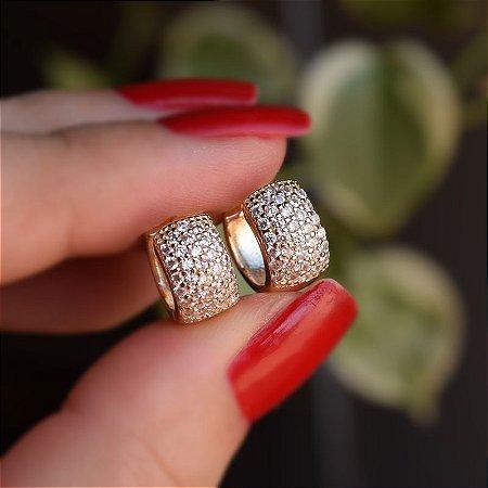 Brinco argolinha ouro zircônia cristal semijoia 10A03073