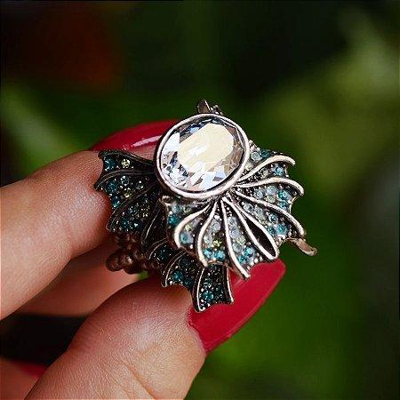 Anel Claudia Arbex cristal azul semijoia
