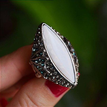 Anel Claudia Arbex prata madrepérola e cristal  azul semijoia