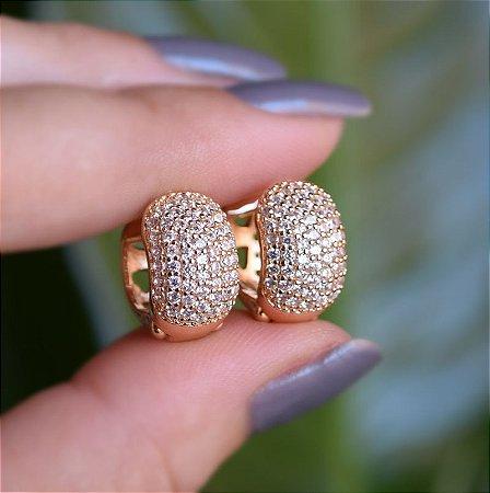 Brinco argola g ouro zircônia cristal semijoia 12A14010