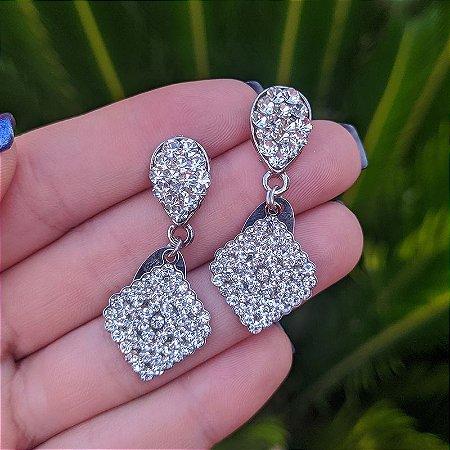 Brinco Leticia Sarabia pequeno cristal prata