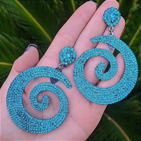 Brinco espiral Leticia Sarabia cristal turquesa
