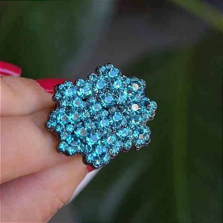 Anel Leticia Sarabia ajustável cristal turquesa