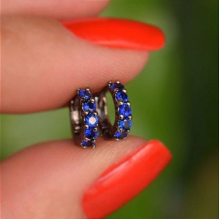 Brinco argolinha fina segundo furo ródio negro azul marinho semijoia 16k02030
