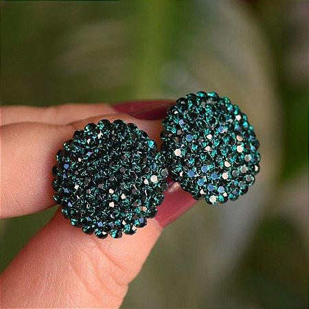 Brinco botão g Leticia Sarabia cristal verde