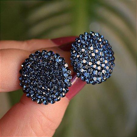 Brinco botão g Leticia Sarabia cristal azul montana