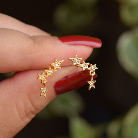 Brinco estrelas zircônia cristal ouro semijoia