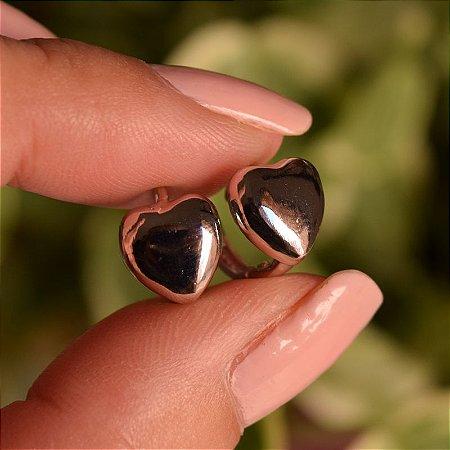 Brinco argolinha coração liso ródio semijoia