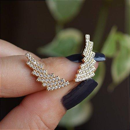 Brinco raio zircônia cristal ouro semijoia