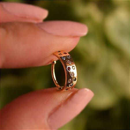 Piercing de encaixe zircônias coloridas ouro semijoia