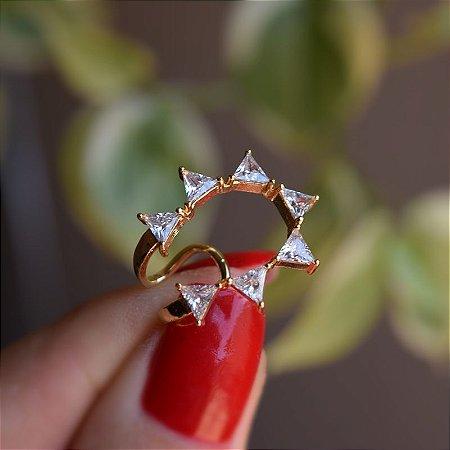 Piercing de encaixe zircônia cristal ouro semijoia