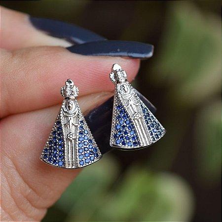 Brinco Nossa Senhora Aparecida zircônia azul prata