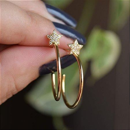 Brinco argolinha estrela g zircônia ouro semijoia