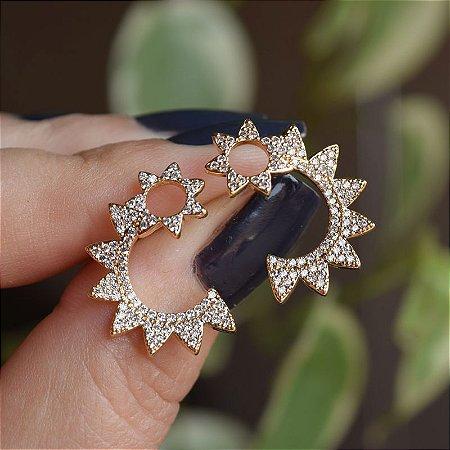 Brinco zircônia cristal ouro semijoia