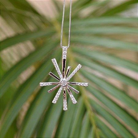 Colar ponteiros zircônia cristal ródio semijoia