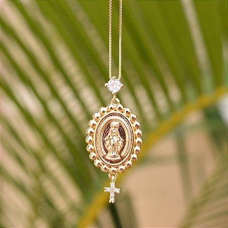 Colar Nossa Senhora das Graças zircônia ouro semijoia