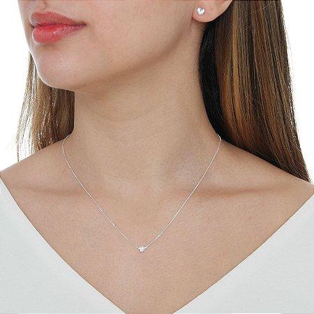 Colar e brinco coração zircônia cristal prata 925 semijoia 2801