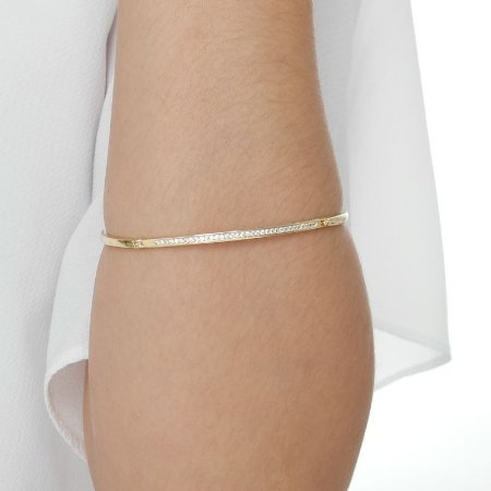 Bracelete fino zircônia cristal ouro semijoia